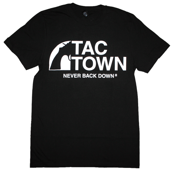 Tac Town Never Back Down T-Shirt (Men's) Black/White - Crisis Clothing