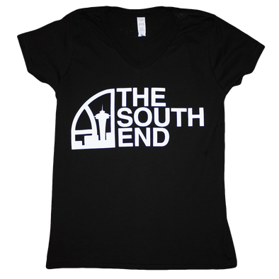 Seattle Super South End V-Neck T-Shirt (Ladies) Black/White - Crisis Clothing