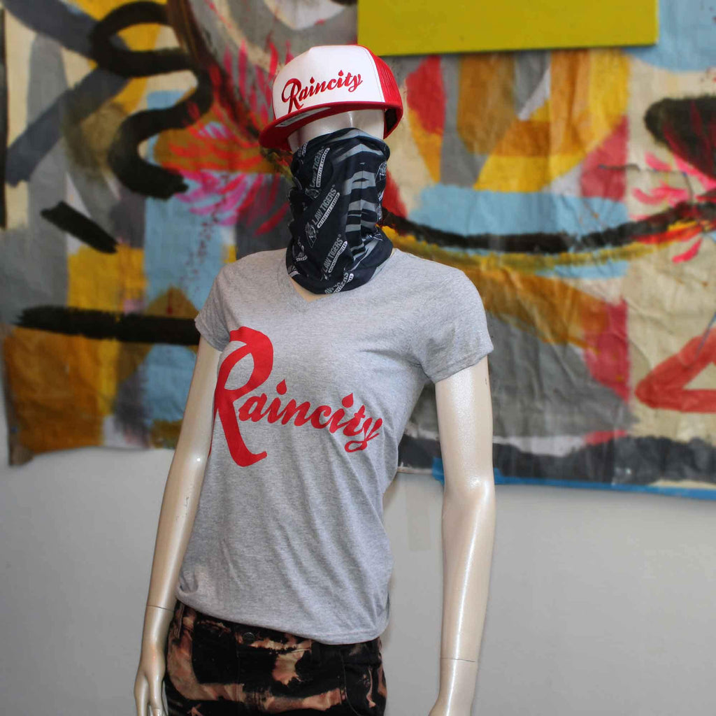 Raincity (Women's V-Neck) Concrete/Red - The North West Clothing