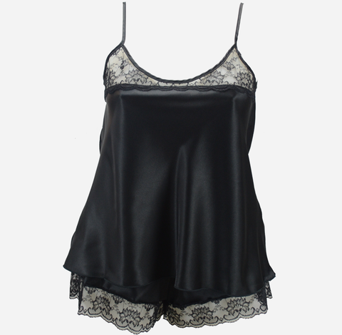 Plus Size Black French Knickers and Camisole Set