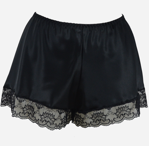 Black Satin French Knickers with Lace Trim