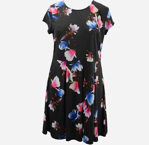 Plus Size Black Floral Skater Dress