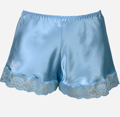 Plus Size Light Blue Satin French Knickers with Lace Trim
