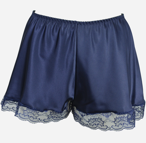 Plus Size Navy Satin French Knickers with Lace Trim
