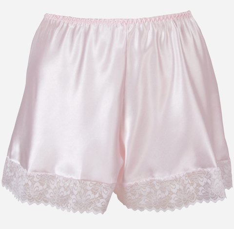 Pink Satin French Knickers with Lace Trim