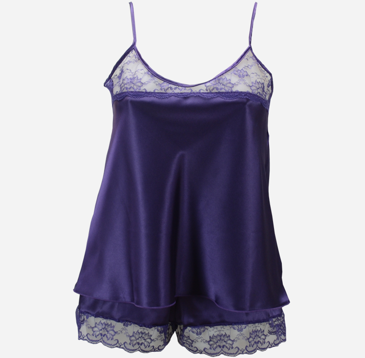 Purple French Knickers and Camisole Set