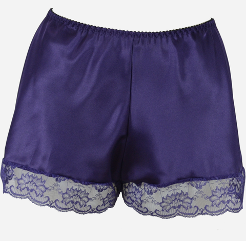 Purple Satin French Knickers with Lace Trim