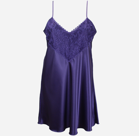 Purple Satin Nightie with Lace Trim