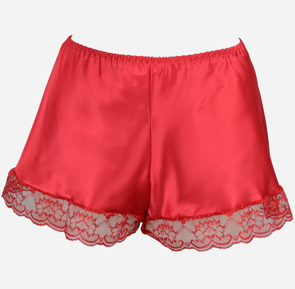 Red Satin French Knickers with Lace Trim