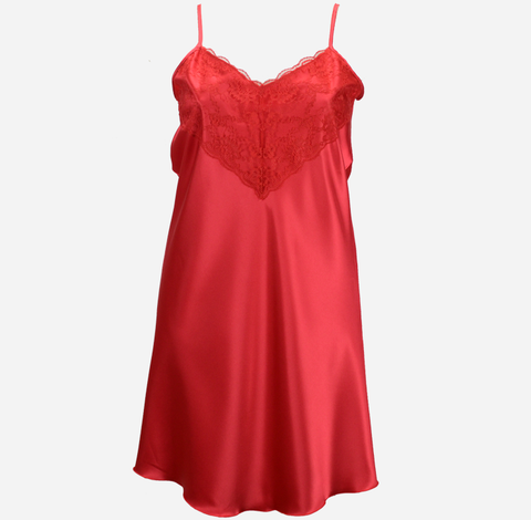 Red Satin Nightie with Lace Trim
