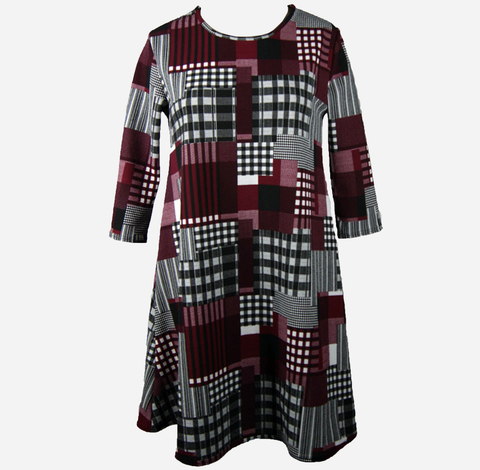 Wine Check Swing Dress