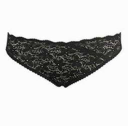Plus Size Black Floral Lace Microfibre Briefs