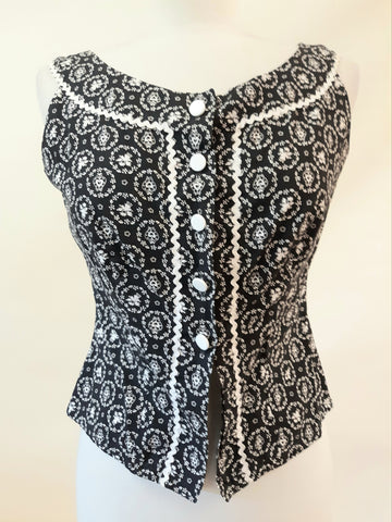 1950s Lanz Original Black & White Top