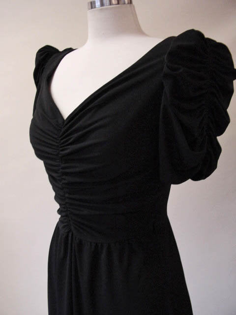 1970s Black Puff Sleeve Dress