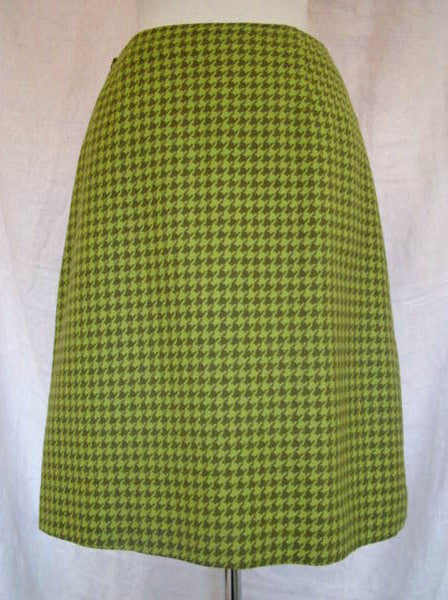 1960s Green Houndstooth Pencil Skirt