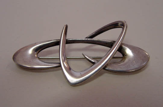Modernist Sterling Boomerang Pin by Helen Adelman