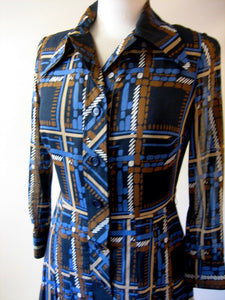 1970s Akris Blue Check Dress