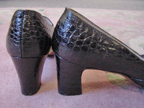 1960s Black Alligator Shoes