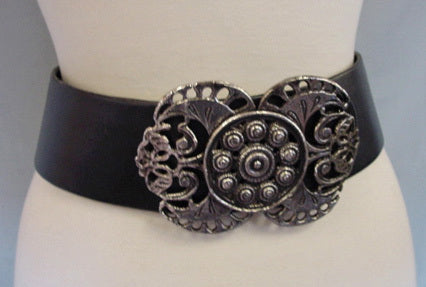 1980s Black Leather Belt with Silver Buckle