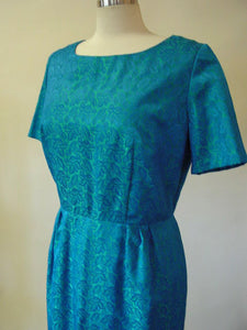 1960s Aqua Blue Leaf Brocade Dress