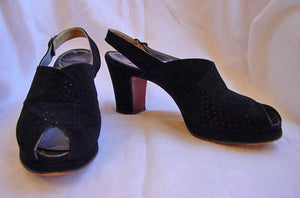 1940s Black Perforated Peeptoe Shoes