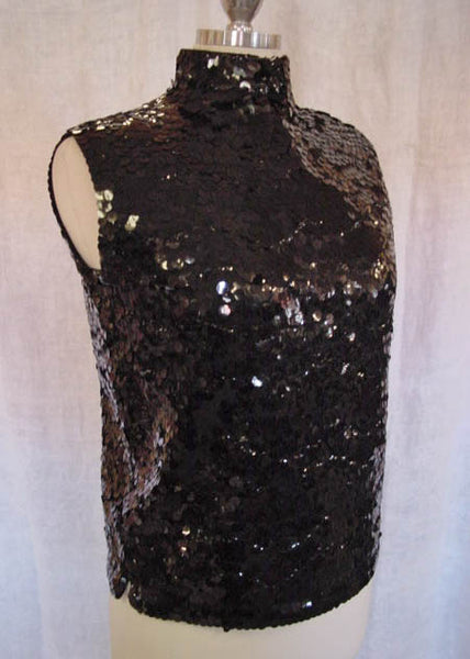 1960s Mod Black Sequin Top