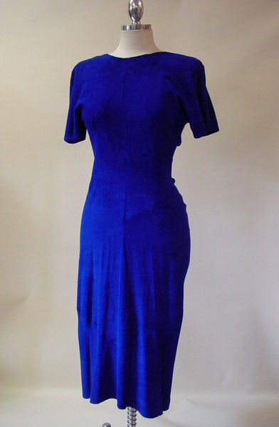 1980s Electric Blue Suede Dress