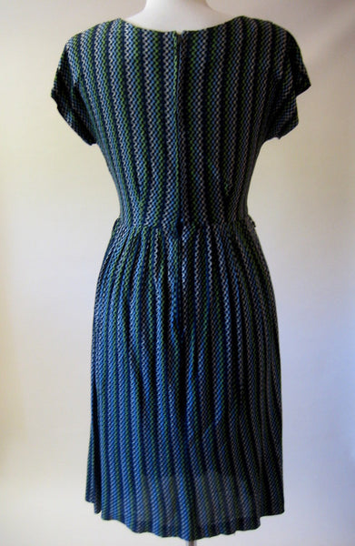 1950s Blue Zig Zag Dress