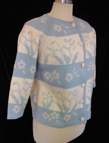 1960s Blue Floral Cardigan Sweater