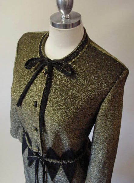 1960s Bronze Knit Harlequin Dress