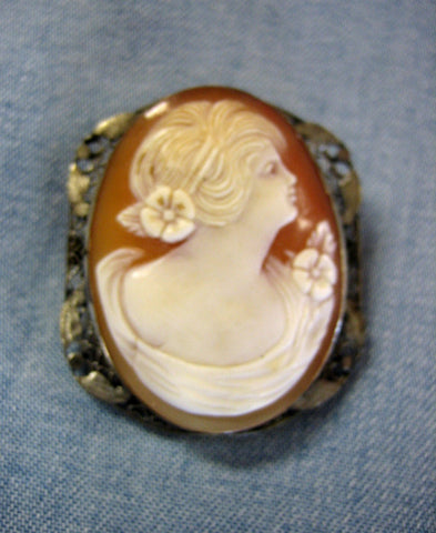 1920s Edwardian Cameo 14k White Gold Brooch