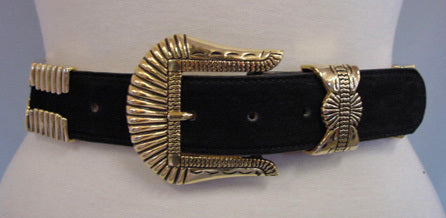 1980s Black Suede Western Belt
