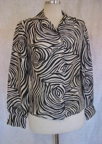 1970s Silk Fingerprint Blouse