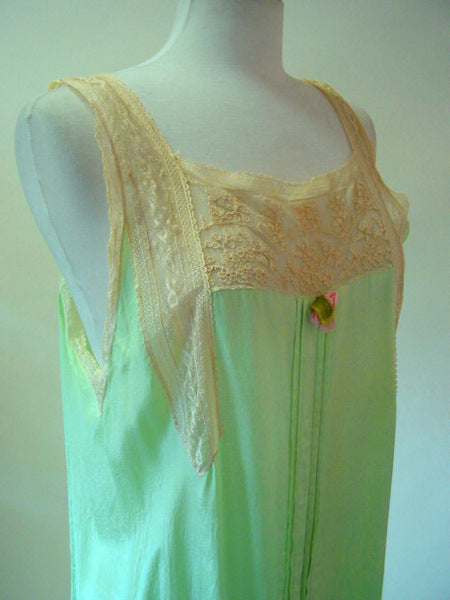 1920s Green Silk Nightgown