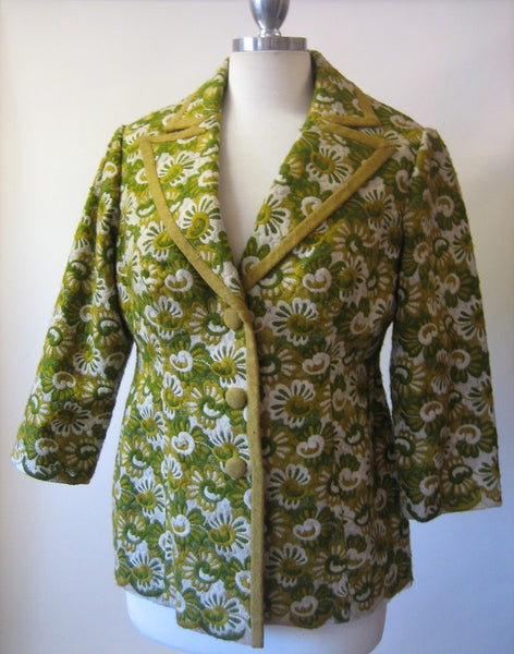 1960s Green Embroidered Floral Jacket
