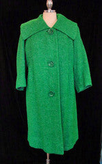 Daisy Fairbanks Vintage Boutique Vintage Clothing, Vintage Dresses, Vintage Fashion1950s Kelly Green Tweed Swing Coat :  wool buttons vivid pleated