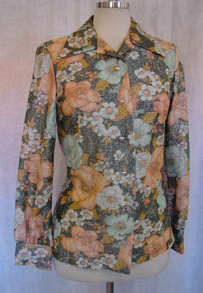 1970s Metallic Floral Shirt
