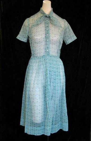 1950s Teal Sheer Secretary Dress