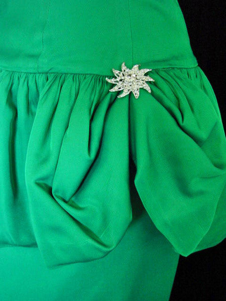 1960s Emerald Green Peplum Dress