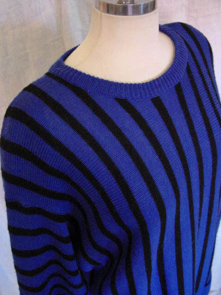 1980s Krizia Blue Sweater Dress
