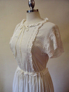 1980s Laura Ashley Romantic White Dress