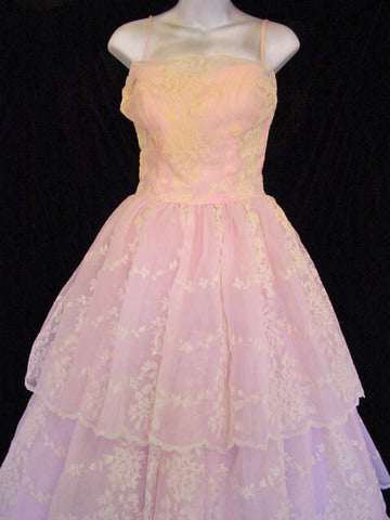 1950s Pink  Flocked Formal Gown