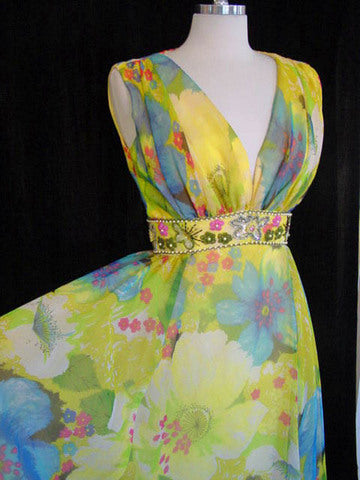 1960s Yellow Floral Maxi Dress