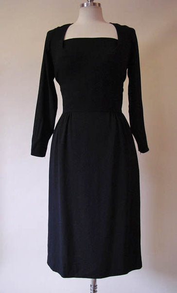 1950s Marjorie Montgomery Black Crepe Dress