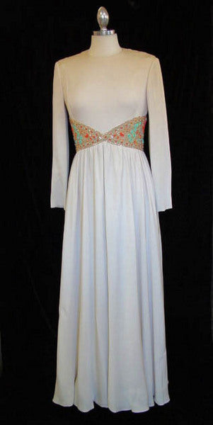 1960s Malcolm Starr Beaded Evening Gown
