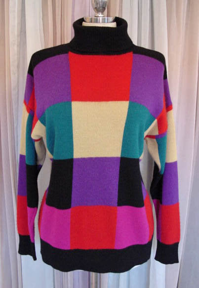1980s Colorblock Cashmere Sweater