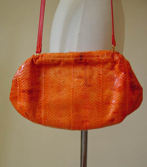 1980s Orange Snakeskin Purse