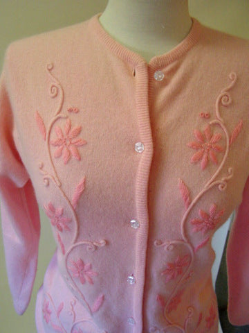 1960s Pink Embroidered Sweater