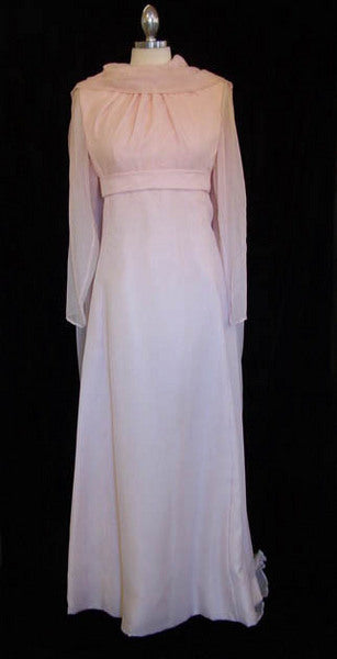 1960s Pale Pink Silk Chiffon Gown
