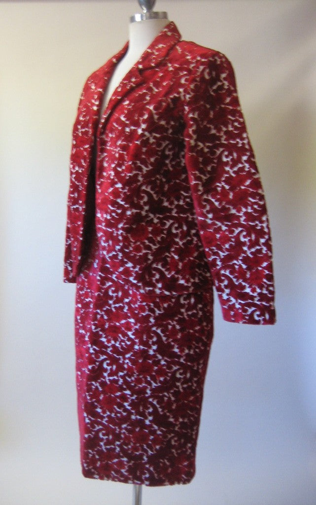 1960s Red Velvet Chenille 2pc Suit